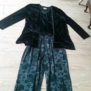Vtg 90's Velvet Pants Set Size 14-18